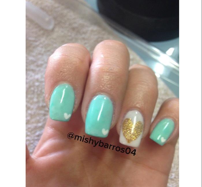 Mint Green And Gold Nails - Nail Art Gallery