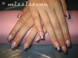glitter pink french with essence stamps