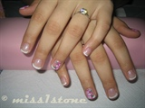 short nails pink flower