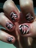 stripes black white pink