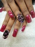 3D black&purple flowers