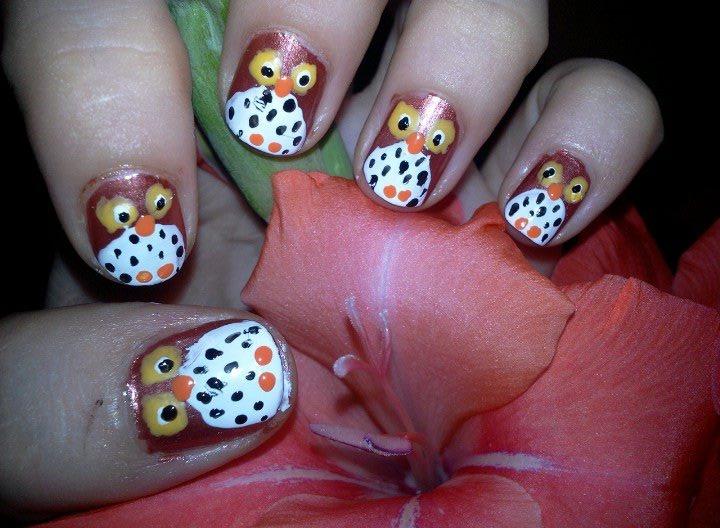 Owl nails art - Nail Art Gallery