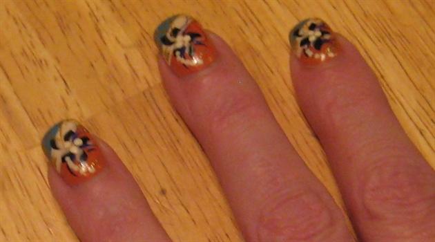 Orange and blue handpainted