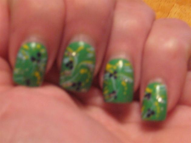 green with swirls handpainted