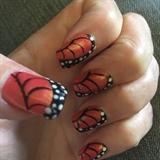 Monarch butterfly nail art