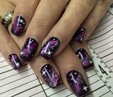 Purple Galaxy nail art