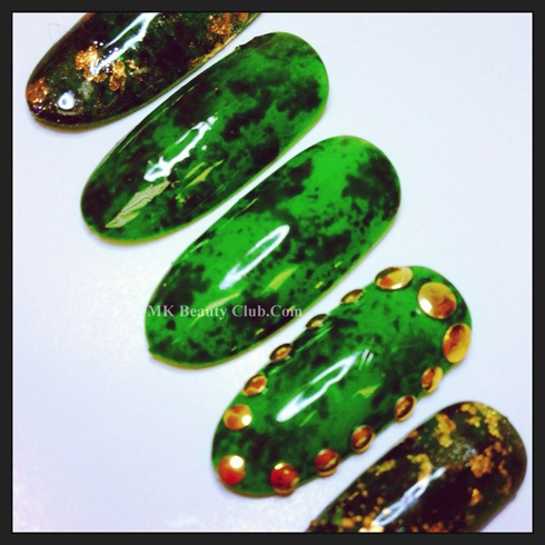 Green & Black Studded Nails