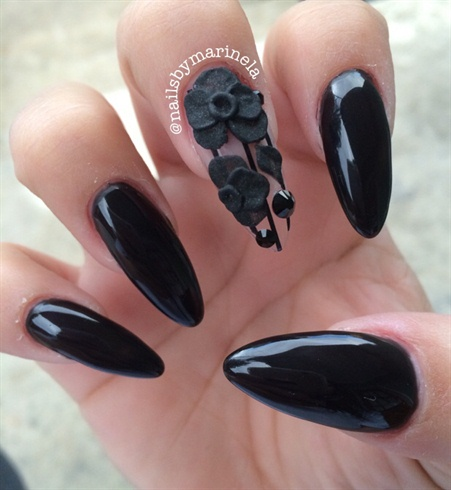Black Stiletto Nails - Black Stiletto Nails - Nail Art Gallery