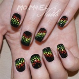 Natural Nails with rasta colors
