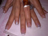 French gel and silver flowers