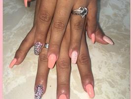 Gel Nails Peach Rhinestones !!