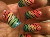 Rainbow Zebra Nails