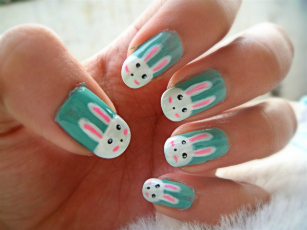 Cute easy bunny nails nail art gallery cute easy bunny nails prinsesfo Images