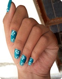 Blue Summer Nails With White Flowers =)
