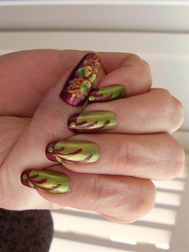 Green Acorns and Oak leaves