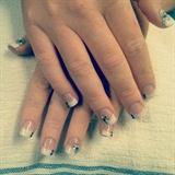 Rhinestone Flower Nails