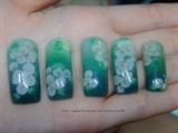Inlay 3d flower + green background