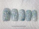Blue white 3d flower