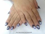 Purple one stoke nail art on short nails