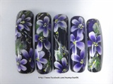 Purple-white onestroke nail art