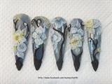 Stiletto nail + 3d yellow & blue flowers