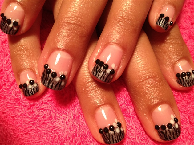 Zebra flower design using gelish nail art gallery zebra amp flower design using gelish prinsesfo Choice Image