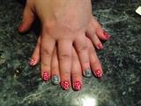 Poka dot flower nail art