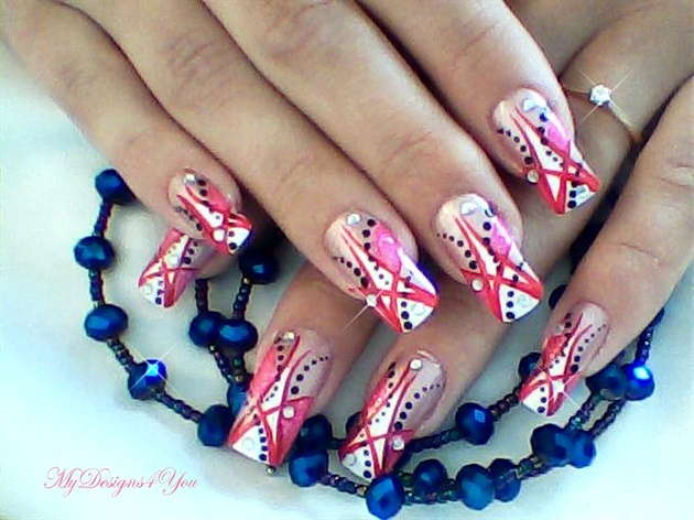 Abstract Red and Pink Nail Design - Abstract Red And Pink Nail Design - Nail Art Gallery