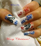 Cute Christmas Teddy Bear Nails