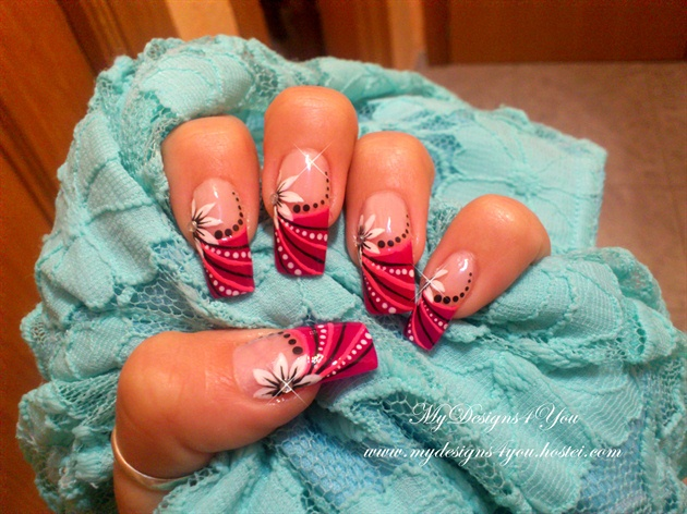 Beautiful, Pink, Flower Nail Art Design