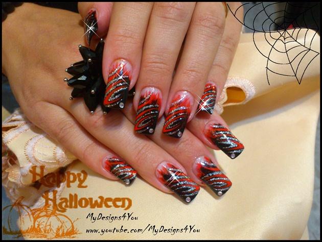 Ice & Fire Halloween nails.
