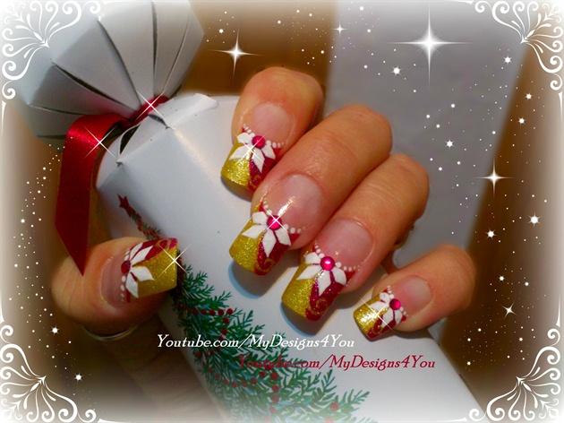 Christmas pink and gold nails.