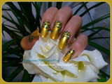 Gold, Leopard Print Nails