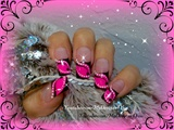 Abstract, hot pink french.