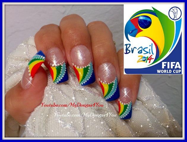 FIFA WORLD CUP NAIL ART 2014 BRAZAZIL