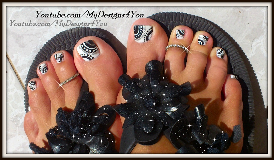 Black And White Toenail Design Nail Art Gallery