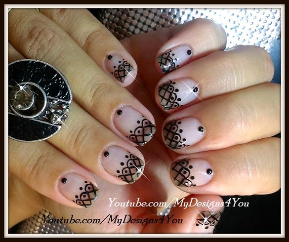 Lace Nail Art With Sheer Polish
