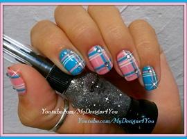 nail art: Romantic Plaid Nails |Baby Pink And Blue
