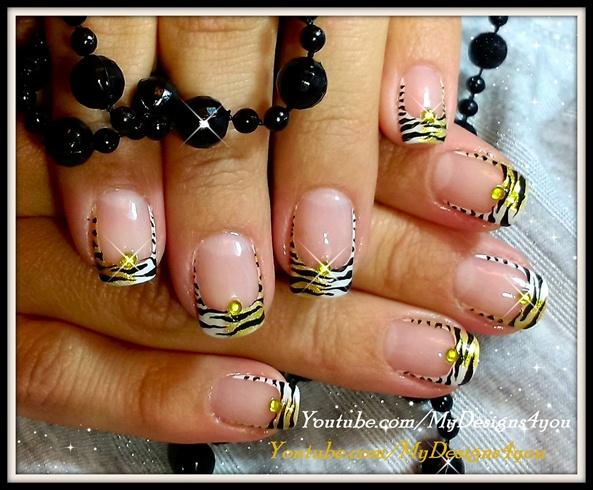 Tiger Print French Tip Nails
