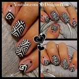 Greek Style Square Spirals Nail Art