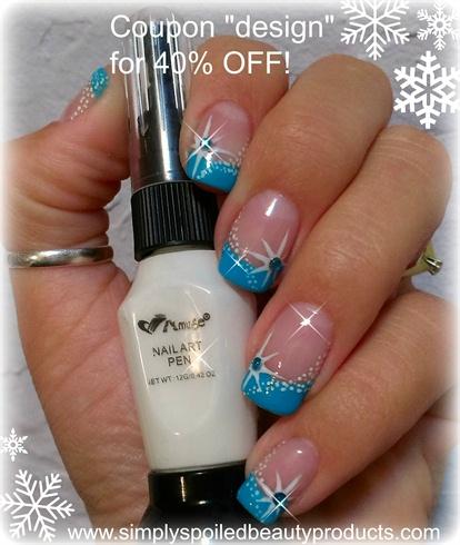 Winter star and snow nail art