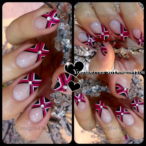 Criss Cross Fuchsia Nail Art Nail Art Gallery
