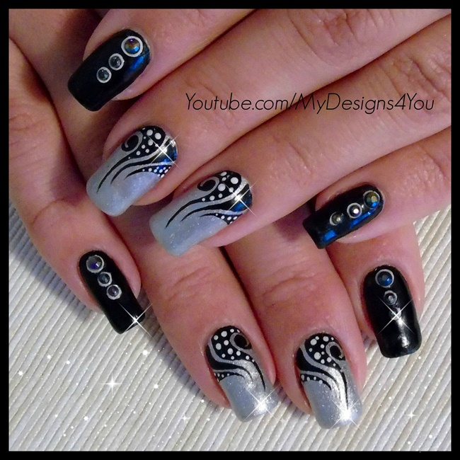 Nail Art Gallery Black And Silver Nail Art Photos