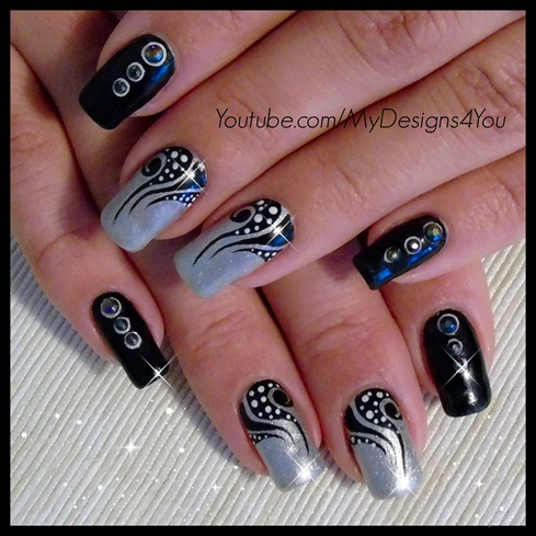 Nail art tattoo black and silver nails nail art gallery nail art tattoo black and silver nails prinsesfo Image collections
