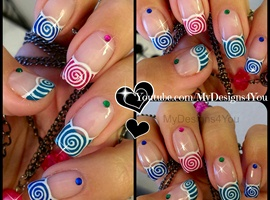 nail art: Spring Nail Art Multicoloured Spirals