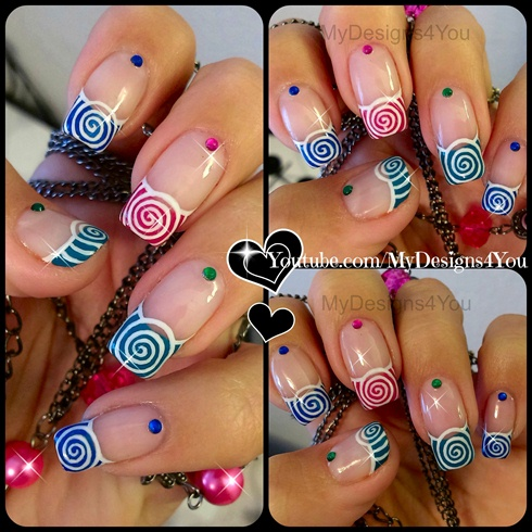 Spring Nail Art Multicoloured Spirals