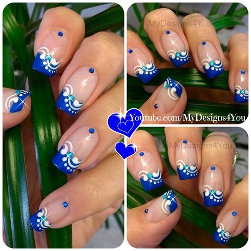 Blue French Tip Nail Art Floral Nails Nail Art Gallery