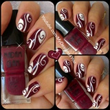 Abstract Nail Art | Burgundy Madam Glam