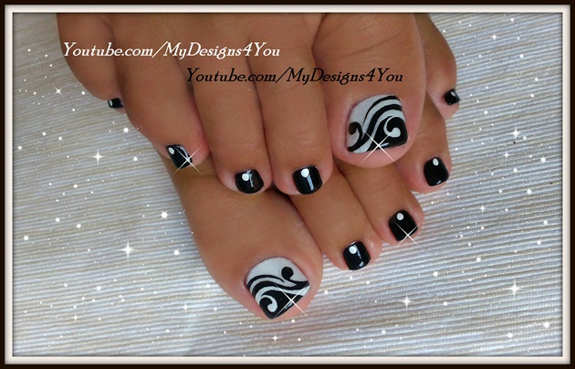 Toenail Art Design Black And White Ped Nail Art Gallery
