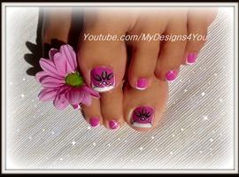 nail art: Toenail Art Design   Pink and Silver